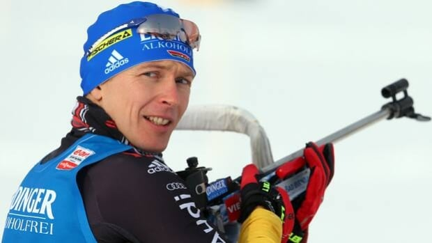 Andreas Birnbacher takes pause at the zeroing in Friday's sprint at Hochfilzen, Austria.