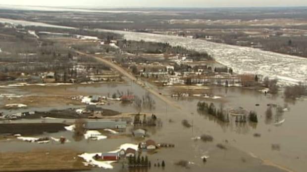 Flood damage around Lake Manitoba in spring of 2011.