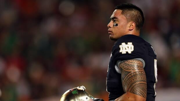 Manti Te'o of the Notre Dame Fighting Irish during a game against the Alabama Crimson Tide at Sun Life Stadium on January 7, 2013 in Miami.