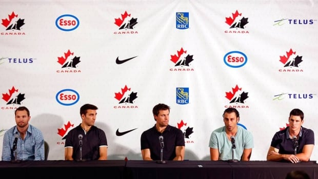 From left to right, NHL players Rick Nash, Patrice Bergeron, Shea Weber, Roberto Luongo and Sidney Crosby will be watched closely by Team Canada management as they begin their evaluation for choosing the final men's hockey roster for the Sochi Olympics.
