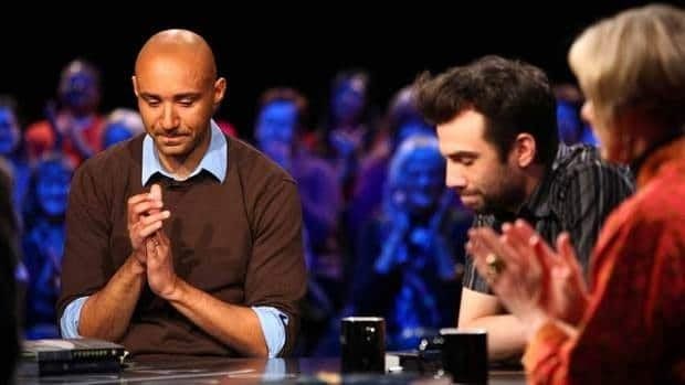 Panellists Trent McClellan, left, Jay Baruchel and Charlotte Gray wait to hear the final vote in Canada Reads.