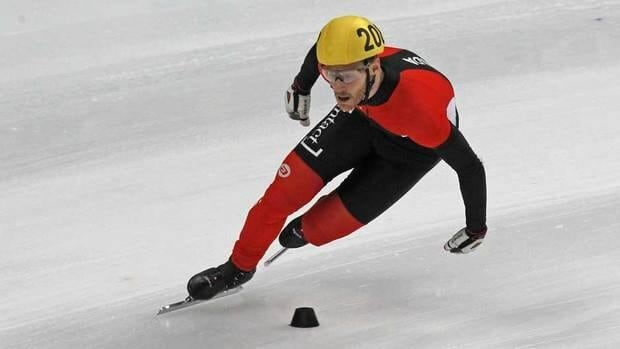 Canada's Olivier Jean seen in action on his finish in the men's 5000m final relay race at the ISU World Cup Short Track Speed Skating event in Moscow, Russia on Sunday.