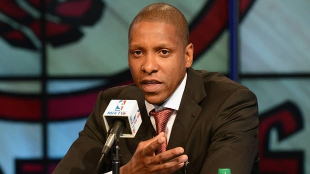 Raptors GM Masai Ujiri during a press conference on June 5, 2013 at the Air Canada Centre in Toronto.