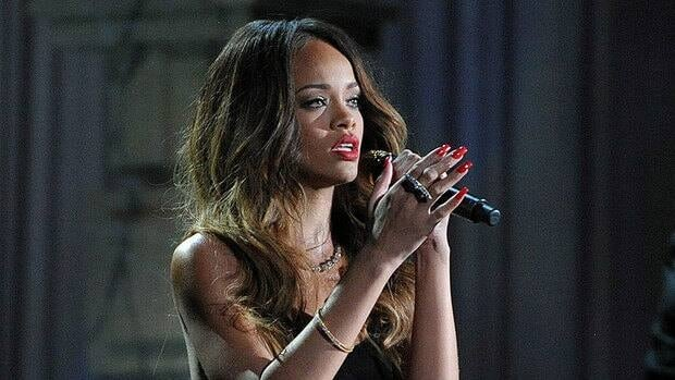 Rihanna, seen performing at the Grammy Awards in February, has had several snags so far on her Diamonds World Tour.