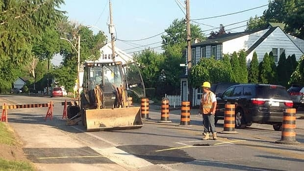 City workers began fixing sinkholes Monday morning.