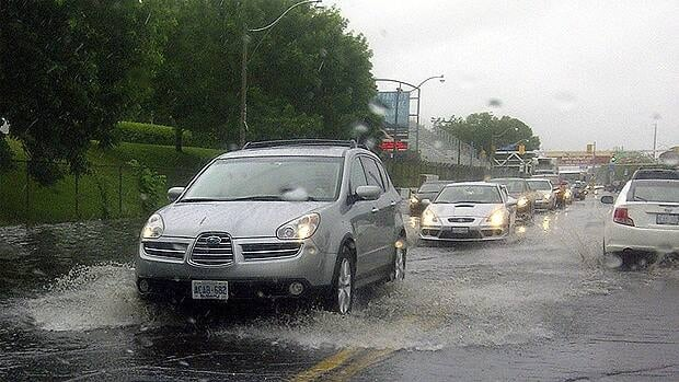 Friday's downpour flooded this section of Toronto's Lakeshore Boulevard.