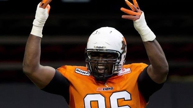 Khalif Mitchell, seen in a July 6 game, has earned the rare multi-game CFL suspension.