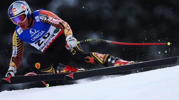 Erik Guay of Mont-Tremblant, Que., skis Thursday's dowhill training run in Schladming, Austria.
