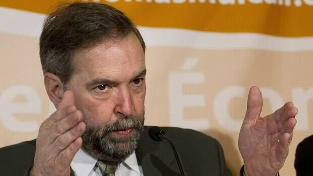 NDP leadership candidate Thomas Mulcair gestures during a press conference in Toronto on Tuesday, March 20, 2012.