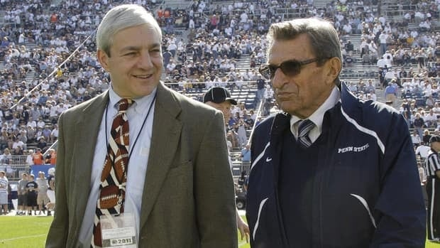 Former Penn State President Graham Spanier, left, and former head coach Joe Paterno were ousted from their positions amid the Jerry Sandusky sex abuse scandal.