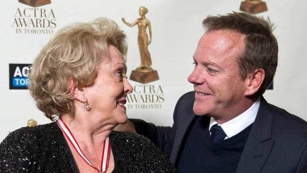 Shirley Douglas smiles at her son Kiefer Sutherland before receiving the ACTRA Toronto Award of Excellence at the union's 11th annual awards in Toronto.