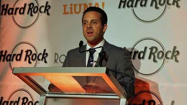 P.J. Mercanti, co-owner of Carmen's Group, announces a proposal for a $200-million entertainment complex in downtown Hamilton. (Cory Ruf/CBC)