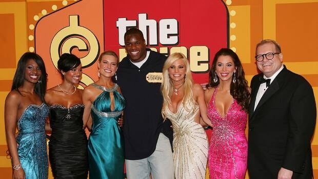 Brandi Cochran, far right beside The Price is Right host Drew Carey in 2008, sued the television game show's producers after she wasn't allowed to return to work from maternity leave in early 2010.