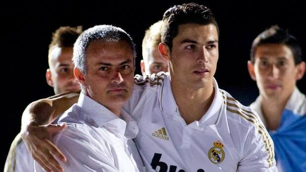 Real Madrid's coach Jose Mourinho, left, declined to comment on the lack of spark shown by star player Cristiano Ronaldo, right.