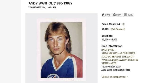 Andy Warhol's Polaroid shots of Wayne Gretzky were auctioned off by Christie's online.