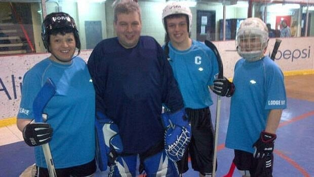 Shelley, Murray, Courtney and Riley Pye at the ball hockey venue for the 2013 Labrador Winter Games.
