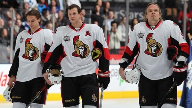 Erik Karlsson, left, Jason Spezza, centre, and Milan Michalek keyed Ottawa's surprise run to the playoffs last year.