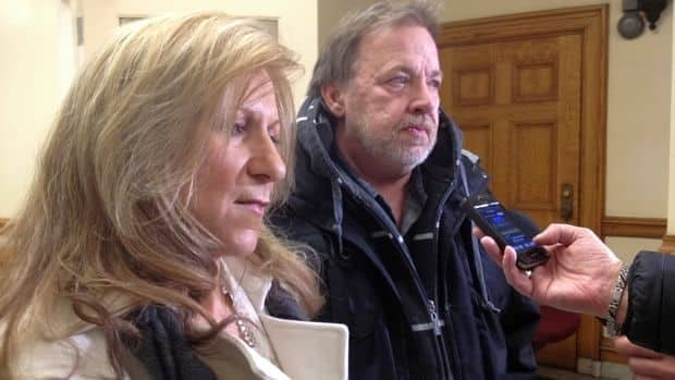Brenda and Louis Veneruzzo, pictured here at the sentencing for Darryl Storey in 2013, requested the police officer convicted of killing their daughter not be allowed to return to Thunder Bay. The parole board denied that request.