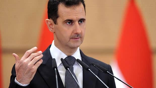 Syrian President Bashar al-Assad, seen in a June 2011 photo, said in an interview with Russian TV that foreign mercenaries 'are being detained and we are preparing to show them to the world.'