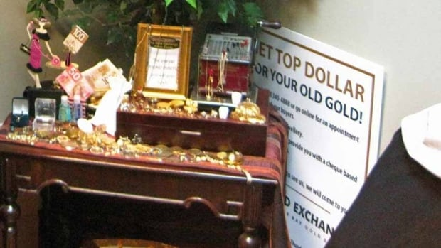 Faye Wen of the Gold Exchange in Thunder Bay has collected several examples of counterfeit gold and added them to this display in her office.