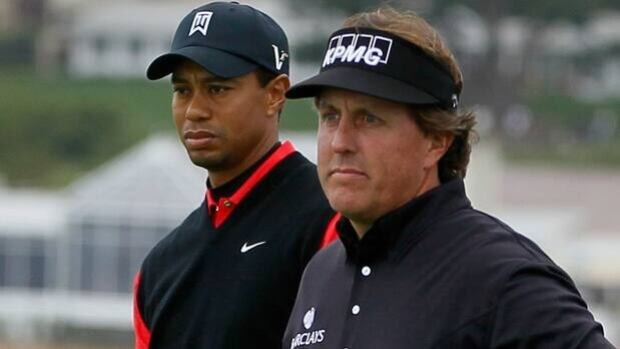 Tiger Woods and Phil Mickelson are paired with Bubba Watson, unseen, in the U.S. Open at Olympic Club in San Francisco, Calif.