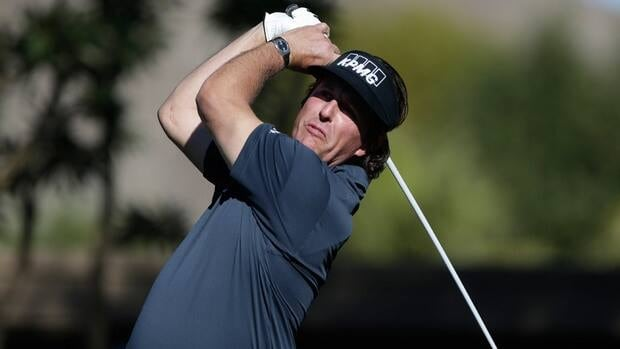 Phil Mickelson watches his tee shot on the sixth hole during the first round of the Humana Challenge at La Quinta Country Club in La Quinta, Calif on Thursday.