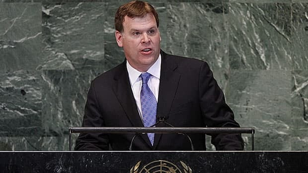 "Foreign Affairs Minister John Baird addresses the United Nations General Assembly in October.  He says the tentative agreement reached with Denmark over a Lincoln Sea boundary ""lessens uncertainty and strengthens Canada's sovereignty over the Arctic."""
