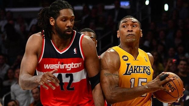 Metta World Peace, seen battling Nenê of the Washington Wizards in a game last week, is out due to a knee injury.