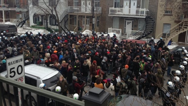 Police declared last year's protest illegal and kettled an estimated 150 people on Châteaubriand Street south of Jean-Talon Street.