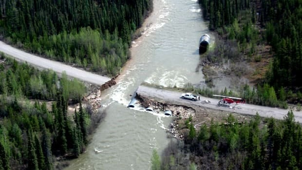 The Nahanni Range Road, which leads to the mine, was washed out in three spots.