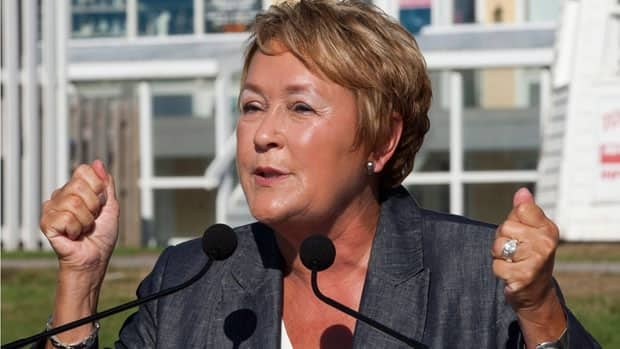 PQ leader Pauline Marois vows to toughen Quebec's language law at a campaign stop in Percé, Que. on Tuesday.