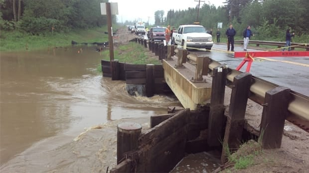 Police say this bridge north of Anzac on Highway 881 in northeast Alberta is in danger of washing out and is unsafe for vehicle traffic.