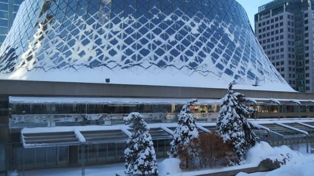 Toronto's Roy Thomson Hall shrouded in snow on Saturday morning.