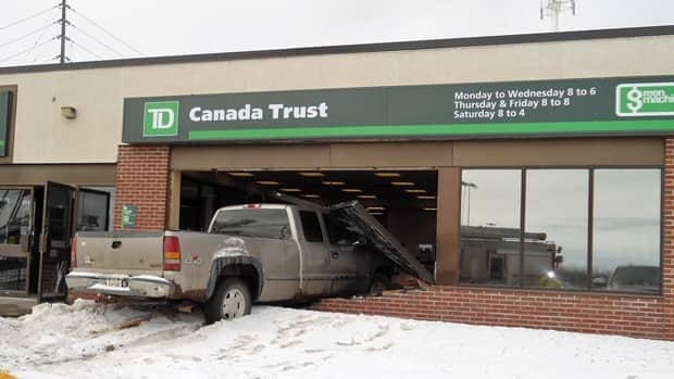 Emergency crews responding to the scene said an elderly driver crashed this truck into the TD Bank at County Fair Plaza.