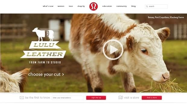 """For April 1st, Lululemon said it was introducing """"lululeather(TM)"""" after partnering with local cow farmers."""