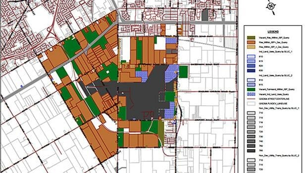 This map shows the potential use for 700 hectares of land surrounding the Hamilton airport. (City of Hamilton)