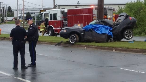 This mustang hit a pole on Monday morning in the Bayers Lake area.