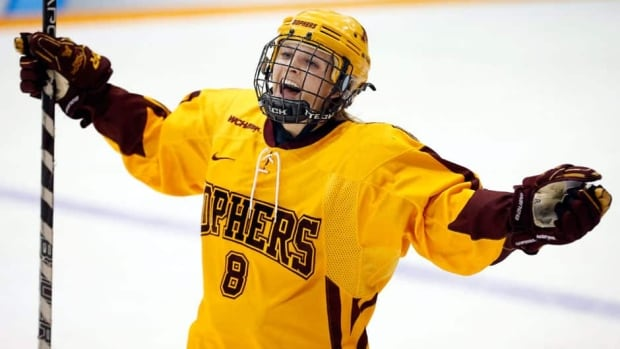 Amanda Kessel, seen her playing for Minnesota of the NCAA last week, shares the same offensive skills that her brother – Toronto Maple Leafs forward Phil Kessel – possesses.