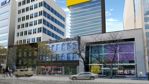 A rendering shows a new plan to redevelop the south side of Gore Park in Hamilton. A developer had applied to the city to demolition a strip of historic buildings on the block, but changed direction after encountering public outcry about the move. (david premi Architects inc.)