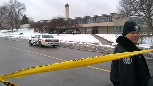 Thistletown Collegiate in Toronto's west end, was locked down much of Thursday afternoon, as police investigated an armed robbery.
