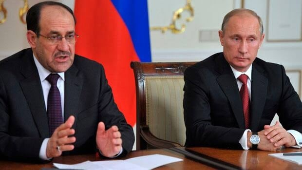 Russia's President Vladimir Putin, right, and Iraqi Prime Minister Nouri al-Maliki speak to the media after their meeting in the Novo-Ogaryovo residence outside Moscow in October.
