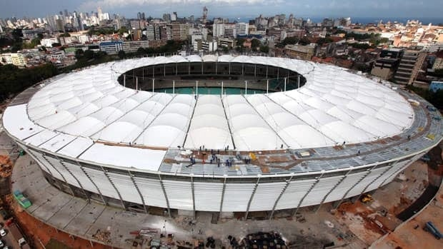 This Feb. 5, 2013 photo, released by World Cup Portal, shows an aerial view of the Fonte Nova stadium, in Salvador, Brazil.