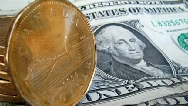 The Canadian dollar fell as much as .74 of a U.S. cent Tuesday, a level it hasn't seen since July 23.