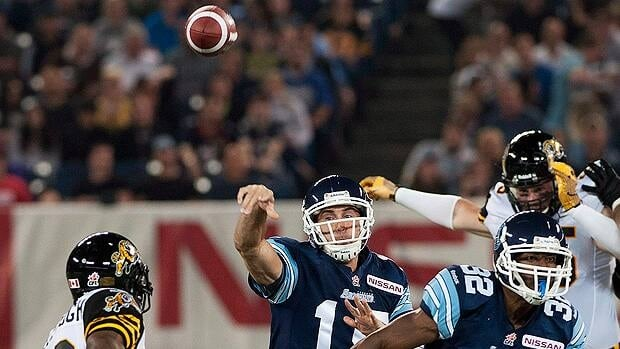Toronto Argonauts quaterback Ricky Ray passes the ball against Hamilton in the season opener.