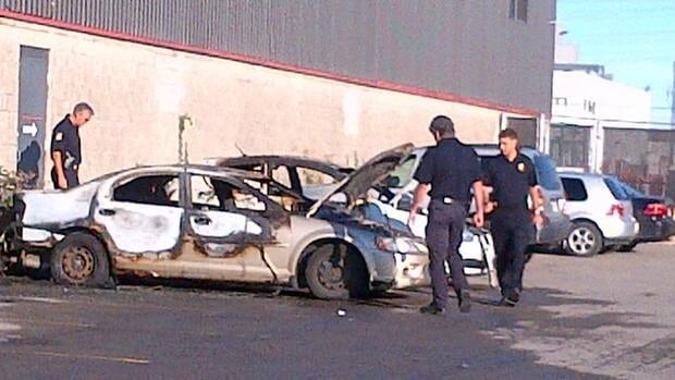 Three cars were set on fire in Laval early Tuesday morning.