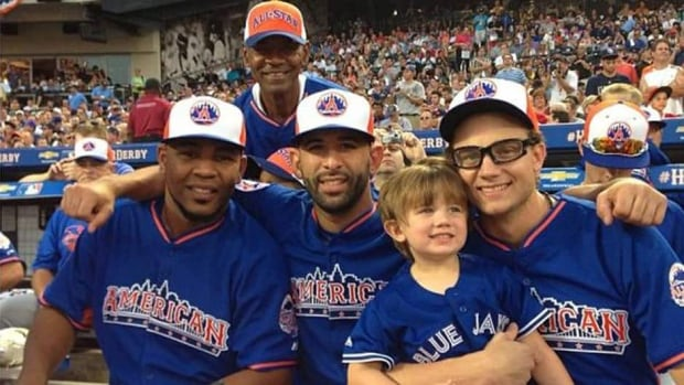Toronto Blue Jays slugger Jose Bautista, centre, tweeted this photo of himself along with teammates Edwin Encarnacion, left, Brett Cecil, right, and Encarnacion's father, top, during the Home Run Derby on Monday.