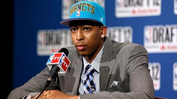 Anthony Davis talks to reporters after being drafted first overall by the New Orleans Hornets during the NBA draft in June.