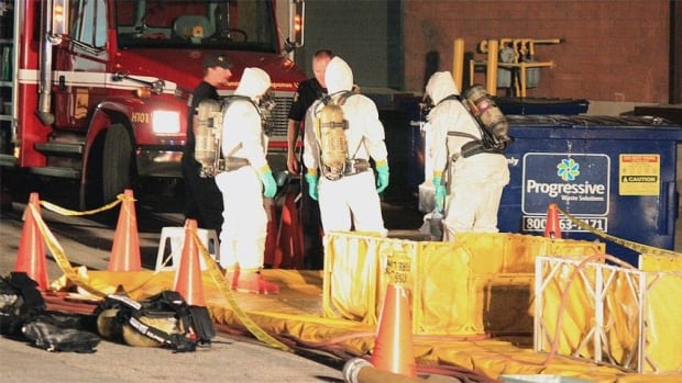 Investigators in hazardous-materials suits work at an insutrial complex in Mississauga that police believe to be a meth lab.