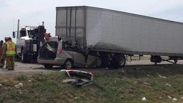 Emergency personnel are at the scene of a collision between a van and a semi-trailer on the Trans-Canada Highway near Kemnay, Man., on Thursday afternoon.