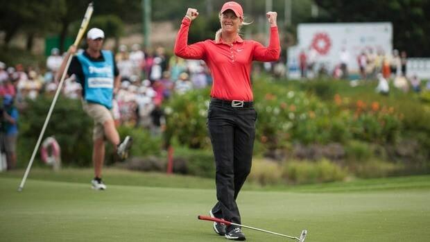 Suzann Pettersen celebrates after winning the Sunrise LPGA Taiwan Championship at the Sunrise Golf Course on Sunday in Taoyuan, Taiwan.